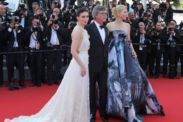 Rooney Mara (L) with 'Carol' director Todd Haynes and co-star Cate Blanchett (R) at the 2015 Cannes International Film Festival on May 17, 2015. Photo by David Silpa/UPI