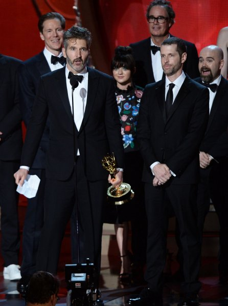 Game of Thrones Writer/producers D.B. Weiss (L) and David Benioff (R) onstage during the Emmy Awards on September 18, 2016. The two writers have been criticized on social media for their next series, which will imagine what would have happened if the Confederacy won the American Civil War. File Photo by Jim Ruymen/UPI