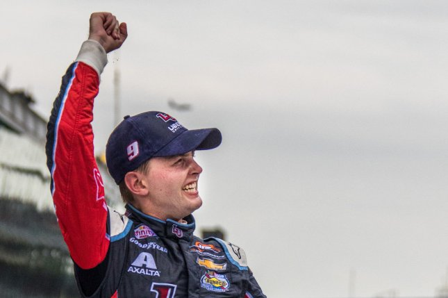 William Byron celebrates after winning the 2017 Lilly Diabetes 250, at the Indianapolis Motor Speedway on July 22, 2017 in Indianapolis, Indiana. File photo by Edwin Locke/UPI