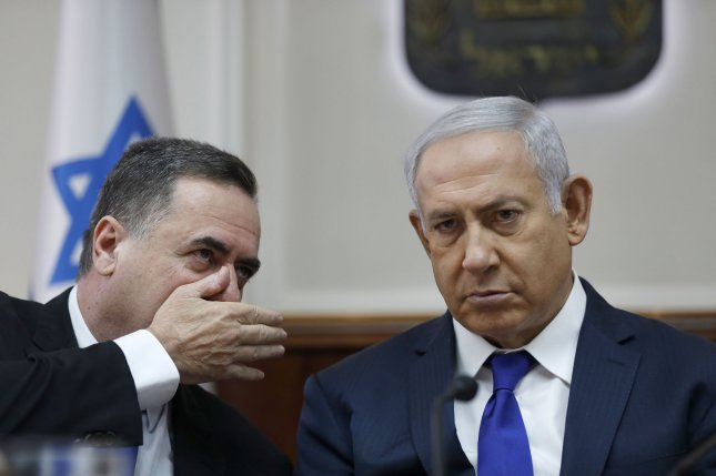 Israeli Prime Minister Benjamin Netanyahu appointed Minister of Transportation Israel Katz (L) as the country's new foreign minister on Sunday. File Pool Photo by Abir Sultan/UPI