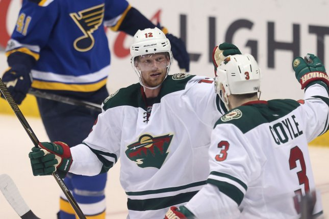 Minnesota Wild forward Eric Staal (12) now has a deal worth $6.5 million, with an average annual value of $3.25 million. File Photo by Bill Greenblatt/UPI