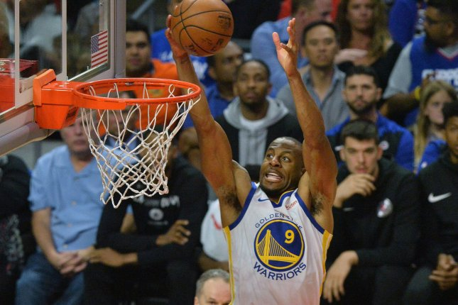 Golden State Warriors forward Andre Iguodala suffered a left calf injury against the Portland Trail Blazers in Game 3. File Photo by Jim Ruymen/UPI