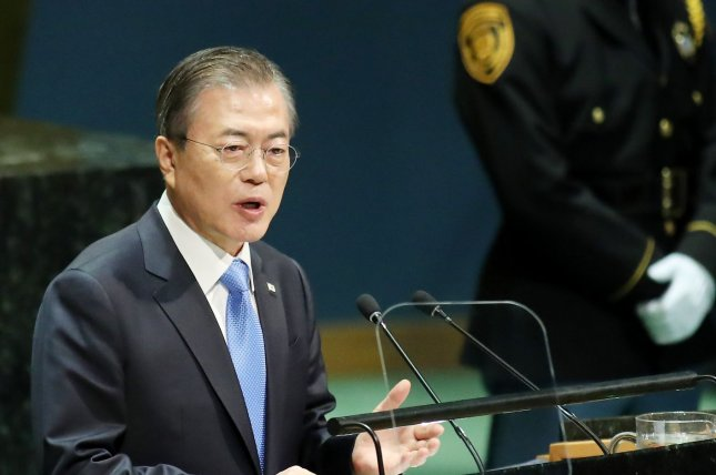South Korea President Moon Jae-in speaks at the United Nations General Assembly on Sept. 24. File Photo by Monika Graff/UPI