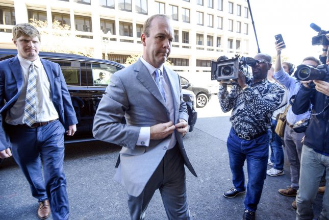 Rick Gates arrives at U.S. District Court in Washington, D.C., on November 1, 2017. Tuesday, he was sentenced to weekend jail time and probation. File Photo by Leigh Vogel/UPI