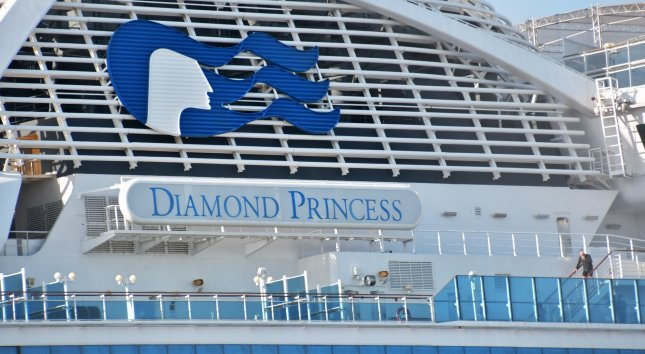 The quarantined cruise ship Diamond Princess is seen at the Daikoku Pier in Yokohama, Kanagawa-Prefecture, Japan on Wednesday. Passengers who have tested negative for the novel coronavirus began disembarking from cruise ship today. Photo by Keizo Mori/UPI