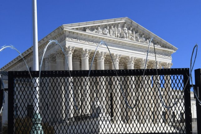 The U.S. Supreme Court is seen near the U.S. Capitol, partly obscured by security fencing, on March 3 in Washington, D.C. Photo by Pat Benic/UPI