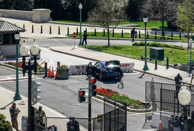 Police said Noah Green, 25, drove a vehicle into Capitol Police officers and struck a barrier near the U.S. Capitol, killing one officer. Photo by Jemal Countess/UPI