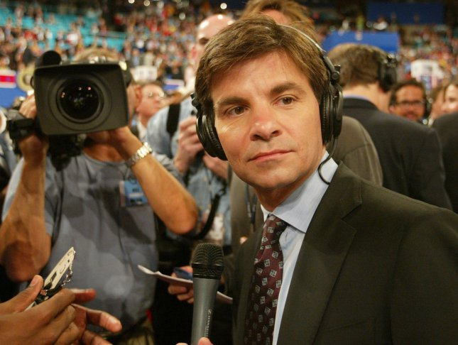 ABC News' George Stephanopoulos watches the action betwen interviews from the floor of Madison Square Garden at the Republican National Convention in New York on September 2, 2004.(UPI Photo/Bill Greenblatt)