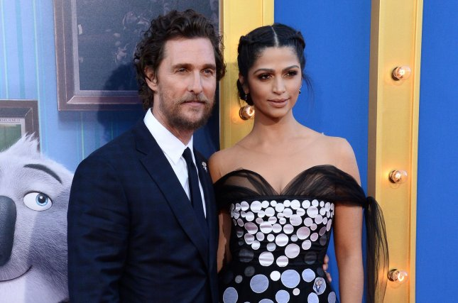 Cast member Matthew McConaughey, the voice of Buster Moon, in the animated motion picture comedy Sing and his wife, model Camila Alves, attend the premiere in Los Angeles on December 3, 2016. The actor is now working on the film White Boy Rick. File Photo by Jim Ruymen/UPI