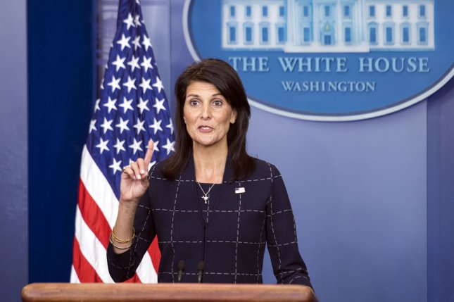 U.S. Ambassador to the United Nations Nikki Haley on Wednesday said the United Nations Security Council on held a closed-door session over the political and economic crisis in Venezuela. File Photo by Kevin Dietsch/UPI