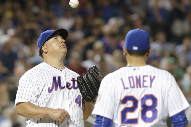 Former New York Mets starting pitcher Bartolo Colon could return to the franchise and possibly help its struggling pitching staff. File Photo by John Angelillo/UPI