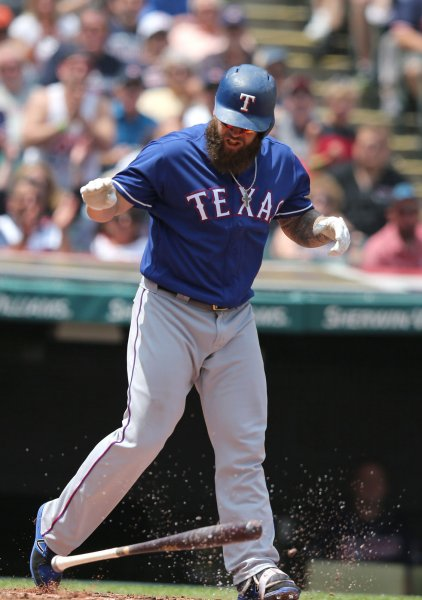 Mike Napoli and the Texas Rangers fought off the Kansas City Royals on Friday. Photo by Aaron Josefczyk/UPIand