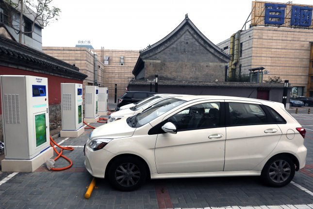 Chinese data show sales and production of electric vehicles in August were up more than 60 percent from last year. Photo by Stephen Shaver/UPI