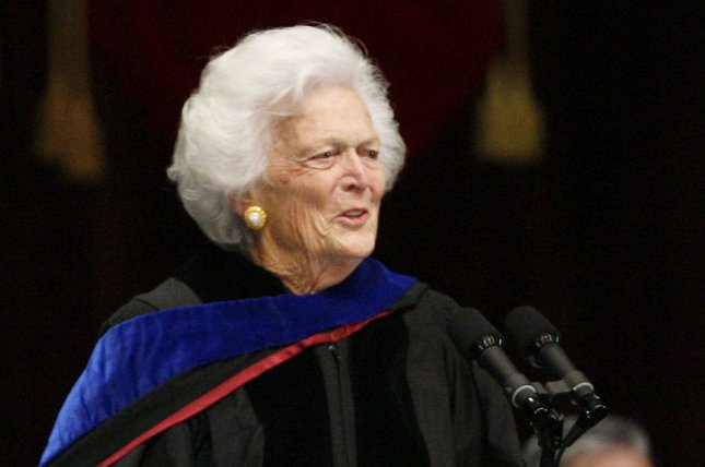 Former first lady Barbara Bush, pictured in 2008, died Tuesday after multiple hospitalizations over the past year. File Photo by Aaron M. Sprecher/UPI
