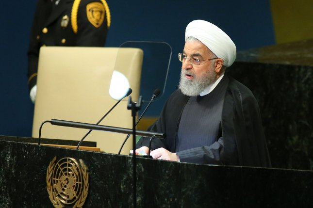 Iranian President Hassan Rouhani addresses the 73rd General Debate at the United Nations General Assembly in New York City on September 25. Photo by Monika Graff/UPI