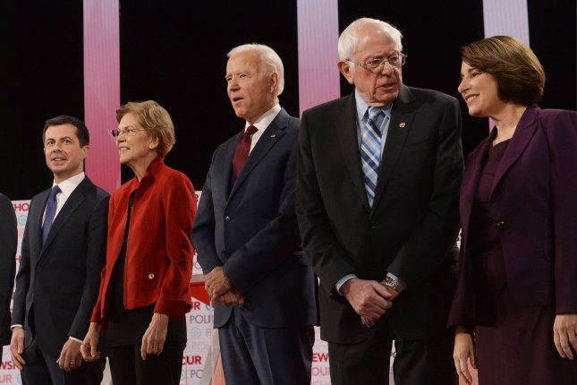 Five Democratic candidates have qualified for upcoming debates in Nevada and South Carolina as the Democratic National Committee released qualifications for the Feb. 25 debate in Charleston. Photo by Jim Ruymen/UPI