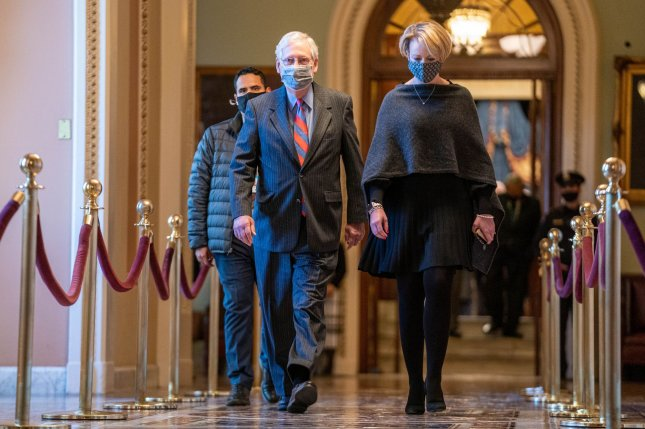 Senate Republican leader Mitch McConnell walks to his office from the Senate floor on Thursday at the U.S. Capitol in Washington, D.C. Photo by Ken Cedeno/UPI