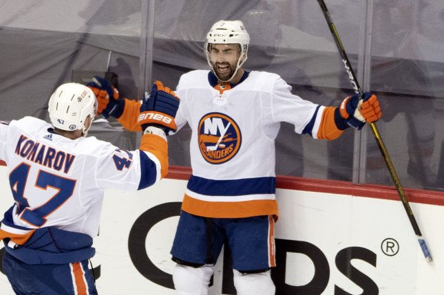 New York Islanders winger Jordan Eberle (R), shown May 24, 2021, was one of many stars to join the Seattle Kraken in Wednesday night's expansion draft. File Photo by Archie Carpenter/UPI