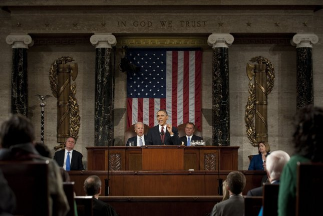 President Barack Obama delivers his State of the Union address in fornt of a joint session of Congress on January 24, 2012 on Capitol Hill in Washington, DC. UPI/Saul Loeb/Pool