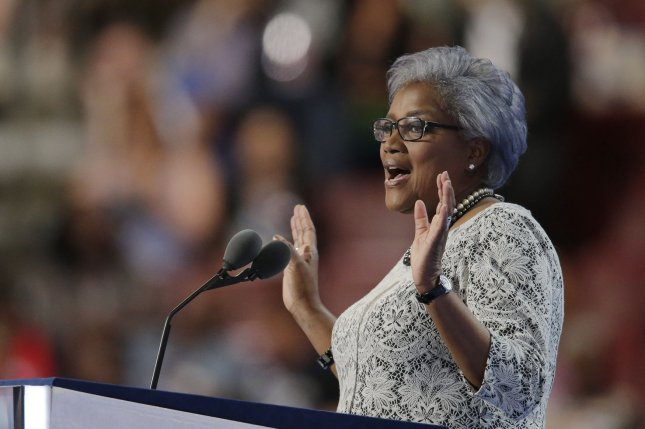 Interim chair of the Democratic National Committee Donna Brazile addresses delegates at the Democratic National Convention in Philadelphia in July. On Monday, CNN said in a statement that Brazile, a former commentator on the network, had resigned from that role on Oct. 14 after WikiLeaks published emails that appeared to indicate she may have received a question in advance of a Democratic primary debate in March. File photo by Ray Stubblebine/UPI