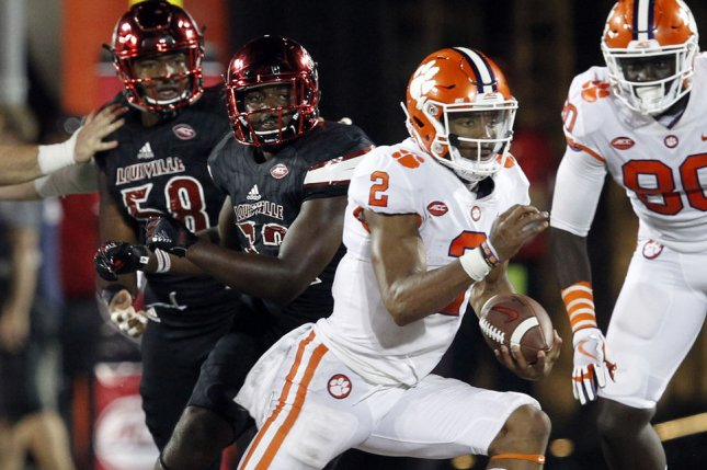 Former Clemson Tigers quarterback Kelly Bryant scrambles during a game against the Louisville Cardinals on September 16, 2017. Photo by John Sommers II/UPI