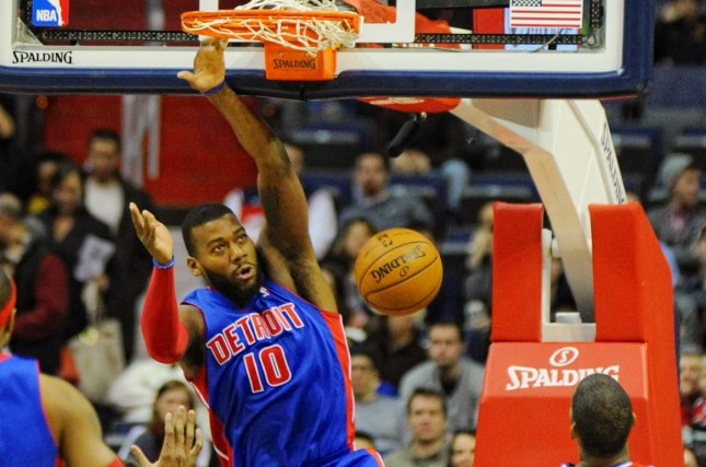 Former Detroit Pistons and Toronto Raptors power forward Greg Monroe (10) will be traded to the Brooklyn Nets on Thursday and then waived, according to The Athletic. File photo by Mark Goldman/UPI