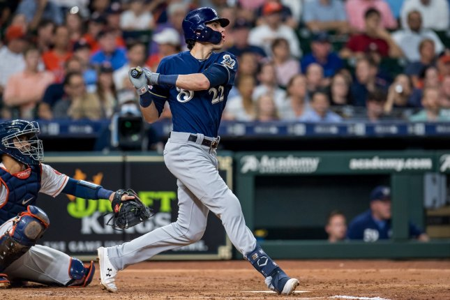 Milwaukee Brewers slugger Christian Yelich leads the MLB with 31 home runs. He dropped out of the Home Run Derby due to a back injury. File Photo by Trask Smith/UPI