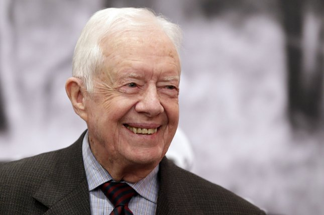 Former President of the United States and co-founder of The Carter Center, Jimmy Carter, received stitches to above his brow due to a fall he took at his Georgia home. Photo by John Angelillo/UPI