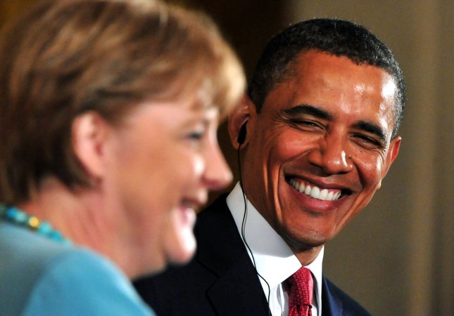 President Barack Obama shares a laugh with German Chancellor Angela Merkel during a joint press conference at the White House in Washington on June 7, 2011. UPI/Kevin Dietsch