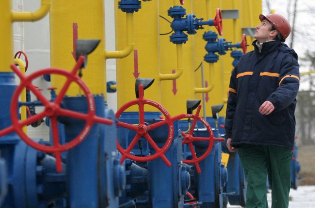A Ukrainian worker at the natural gas pipeline from Russia to Poland in Boyarka town 15 miles from Kiev. (Sergey Starostenko/UPI)