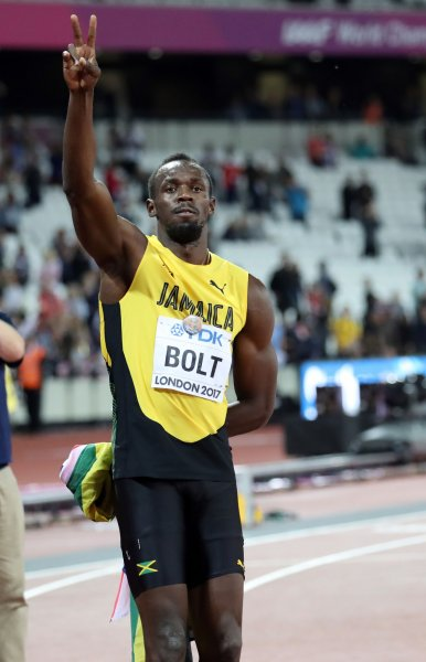 buy online 3a3c5 c5b05 Usain Bolt bids farewell after losing the men s 100-meter final to Justin  Gatlin at the 2017 IAAF World Athletics Championships at the Olympic  Stadium in ...