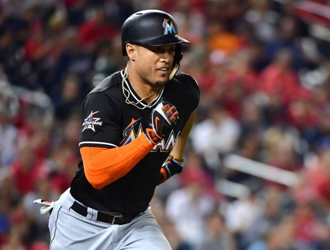 Giancarlo Stanton and the Miami Marlins hit their way past the Philadelphia Phillies on Thursday. Photo by Kevin Dietsch/UPI