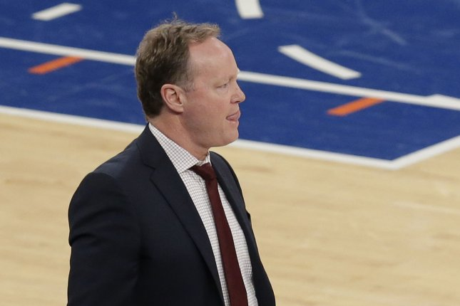 Milwaukee Bucks head coach Mike Budenholzer stands near the bench in the first half against the New York Knicks on December 1, 2018 at Madison Square Garden in New York City. Photo by John Angelillo/UPI