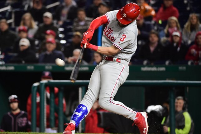 Philadelphia Phillies right fielder Bryce Harper had two strikeouts and three hits in his return to Nationals Park Tuesday in Washington, D.C. Photo by Kevin Dietsch/UPI