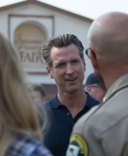 California Governor Gavin Newsom and 11 other state senators urged the president in a letter Tuesday to act on gun reform following several mass shootings. Photo by Khaled Sayed/UPI