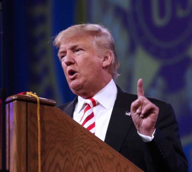 Republican Presidential candidate Donald Trump called for a 30-day plan by military leaders to defeat the Iaslamic State, in a speech in Greenville, S.C., on Tuesday. Photo by Ernest Coleman/UPI