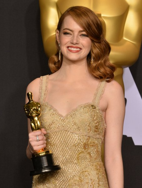 Emma Stone, winner of the award for Best Actress for La La Land appears backstage with her Oscar during the 89th annual Academy Awards at Lowes Hollywood Hotel in the Hollywood section of Los Angeles on February 26, 2017. Photo by Jim Ruymen/UPI
