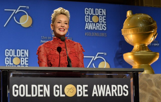 Actress Sharon Stone announces the nominees for the 75th annual Golden Globe Awards at the Beverly Hilton Hotel in Beverly Hills on December 11. Photo by Jim Ruymen/UPI