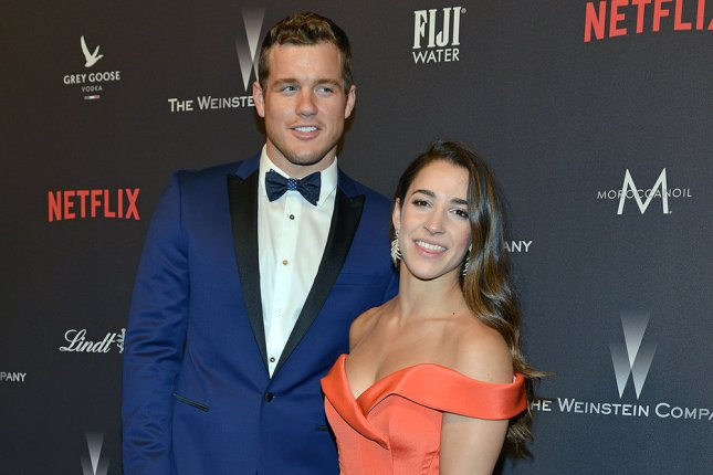 Colton Underwood (L), pictured with Aly Raisman, discussed the heartbreak of his split from the gymnast in a new interview. File Photo by Christine Chew/UPI