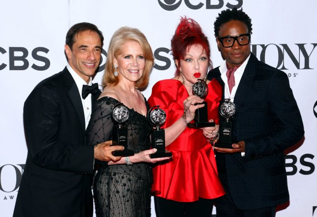 Producer Hal Luftig, composer Cyndi Lauper, producer Daryl Roth and actor Billy Porter from the best new musical 'Kinky Boots' arrive in the pressroom at the 67th Annual Tony Awards held at Radio City Music Hall on June 9, 2013 in New York City. UPI/Monika Graff