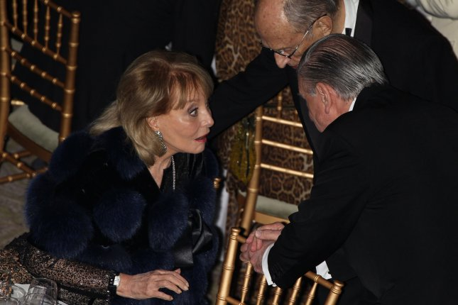Barbara Walters speaks with guests at the Queen Sofia Spanish Institute 2011 Gold Medal Gala in New York on November 29, 2011. The Institute's Gold Medal is awarded annually to Americans and Spaniards in recognition of their contributions to the betterment of relations between the United States and Spain. UPI/Kelly Jordan