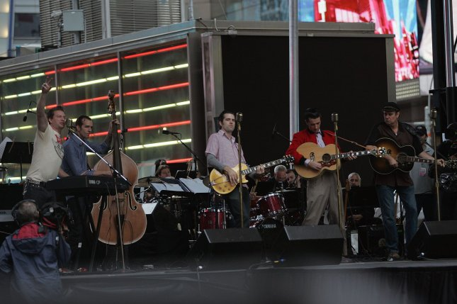 The cast of Million Dollar Quartet perform in the Broadway on Broadway Concert in Times Square in New York on September 12, 2010. UPI /Laura Cavanaugh
