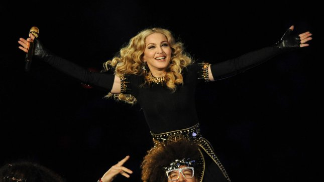 Madonna performs alongside LMFAO during the Halftime Show at Super Bowl XLVI between the New York Giants and the New England Patriots at Lucas Oil Stadium for NFL in Indianapolis, Indiana on February 5, 2012. UPI/Pat Benic..