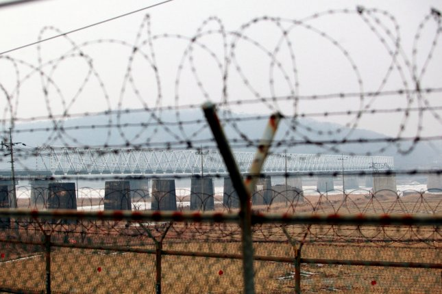 Heavy barbed wire fences guard the Freedom Bridge, connecting South Korea to the Demilitarized Zone (DMZ) and North Korea, near Seoul. (UPI/Stephen Shaver)
