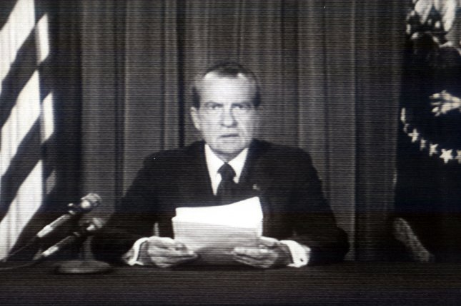 President Nixon resigns from the Office of the President, on August 8, 1974, following his role in the Watergate scandal. File Photo by CBS/UPI