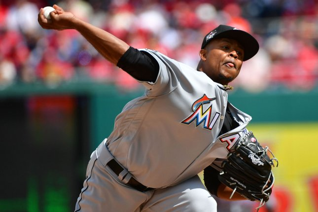 Miami Marlins starting pitcher Edinson Volquez (36) throws a pitch. File photo by Kevin Dietsch/UPI
