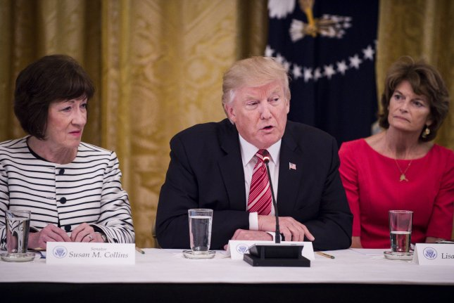 Republican senators hesitant to lend support to the party's proposed healthcare reform bill meet with President Donald Trump at the White House Tuesday afternoon, following an announcement that a vote on the proposal had been delayed until after July 4. Photo by Pete Marovich/UPI