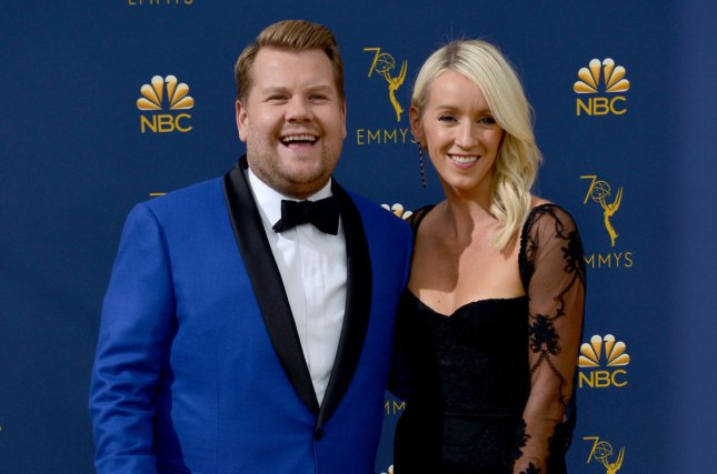 James Corden (L) and his wife Julia Carey. Corden made a comedic version of  a Calvin Klein ad that features stars Shawn Mendes and Kendall Jenner. 85f3a459b3