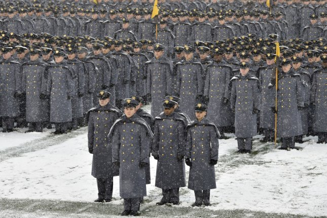 Army cadets from the U.S. Military Academy at West Point stand on the field at the 118th meeting between Army and Navy at Lincoln Financial Field in Philadelphia, Penn., on December 9, 2017. File Photo by Derik Hamilton/UPI