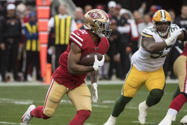 San Francisco 49ers running back Raheem Mostert (31), shown Jan. 19, 2020, suffered the knee injury during Sunday's win over the Detroit Lions. File Photo by Terry Schmitt/UPI